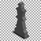 Black king chess piece isometric, vector illustration.