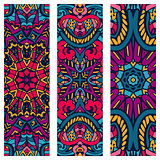 Festive tribal ornamental psychedelic vector ethnic banner set