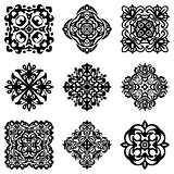 set of stencil damask ornamental flourishes.