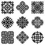 set of stencil damask ornamental flourishes.