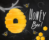 Poster honey bee chalk