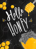 Poster hello honey chalk