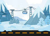 Seamless cartoon landscape, vector background with mountains and Funicular