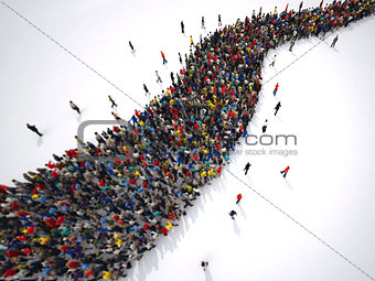 3D Rendering people form a winding road