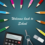 Back to School with colored pencils and supplies