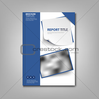 Brochures book or flyer with blue design labels template