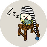 Cute owl sleeping on wooden stool