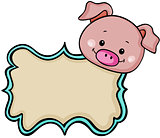 Cute pig label tag