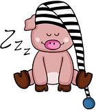 Funny pig sleeping