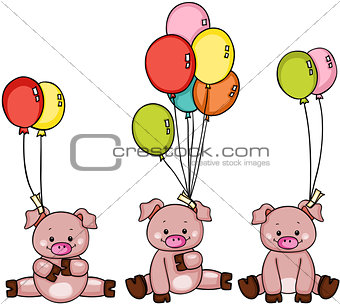 Three pigs with balloons