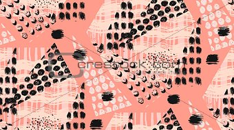 Abstract unusual hand made geometric seamless pattern or background with glitter, sharpen textures, brush painted elements. Poster, card, textile, wallpaper template.Pastel, black and white colors.