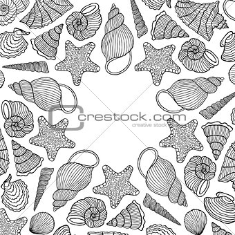 card with hand drawn shells
