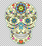 Hand drawn colorful skull
