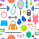 pattern with fitness equipment