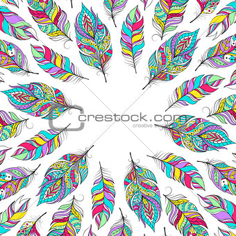 card with colorful feathers