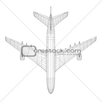 Top view of airplane in wire-frame style