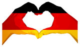 Two palms make heart shape. German flag