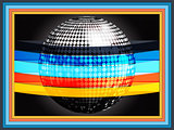 Silverd disco ball wrapped in multicoloured stripes on black fra