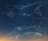 Set of military jet fighter silhouettes. Image of aircraft in contour drawing lines