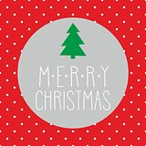 Holidays vector card with christmas tree and hand drawn Merry Christmas wishes