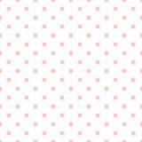 Tile vector pattern with small pink polka dots on white background