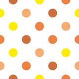 Tile vector pattern with brown, orange and yellow polka dots on white background