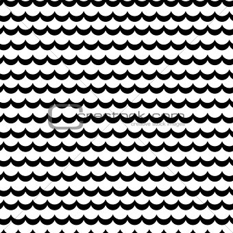 Abstract sea wave frill black and white vector pattern.