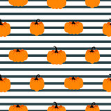 Halloween pumpkin vector seamless striped pattern.