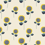 Sunflower plant cartoon seamless pattern.
