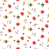 Autumn foliage seamless vector pattern.