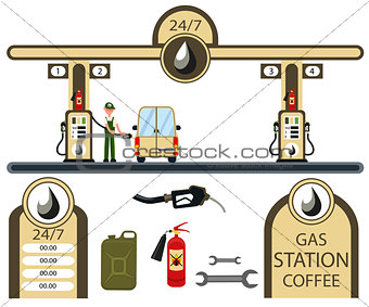 Cars and gas station elements set.