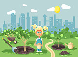 Vector illustration cartoon characters of child little blonde girl in denim overall with two tails planting in garden seedlings of tree watering from geek, taking care of ecology city flat style