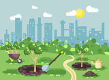 Vector illustration landscape, scenery, view, scene, planting garden seedlings of tree watering from geek, wheelbarrow, shovel, excavated pits in ground, taking care of ecology city flat style