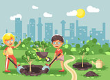 Vector illustration cartoon characters of children two little boys dig hole in ground for planting in garden seedlings of tree watering from geek, taking care of ecology city flat style