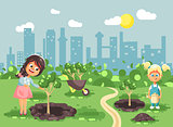 Vector illustration cartoon characters of children two little girls near dug holes in ground for planting in garden seedlings of tree watering from geek, taking care of ecology city flat style