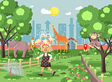 Vector illustration banner for site with schoolchild on walk, school zoo excursion zoological garden, blonde little girl monkey, peacock, elephant, lion, tiger, giraffe, wild animals flat style