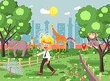 Vector illustration banner for site with schoolchild on walk, school zoo excursion zoological garden, blonde little boy monkey, peacock, elephant, lion, tiger, giraffe, wild animals flat style