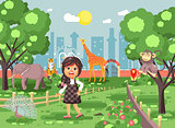 Vector illustration banner for site with schoolchild on walk school zoo excursion zoological garden, brunette little girl monkey, peacock, elephant, lion, tiger, giraffe, wild animals flat style