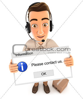 3d delivery man holding contact message