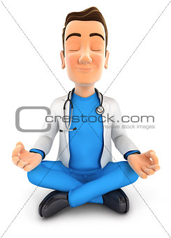 3d doctor doing yoga