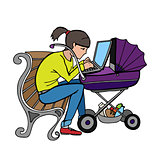 yong working mother using laptop at stroller