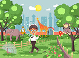 Vector illustration banner for site with schoolchild on walk school zoo excursion zoological garden, brunette little boy monkey, peacock, elephant, lion, tiger, giraffe, wild animals flat style