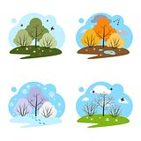 Four seasons. Four illustrations on a white background.