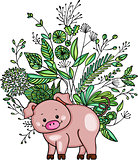 Little pig with green weeds