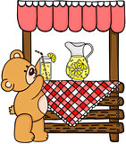 Teddy bear and wooden lemonade stand