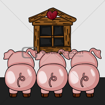 Three little pigs to back view
