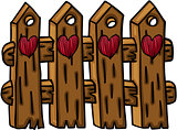 Wooden fence with hearts