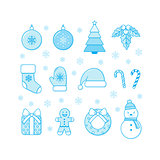 Winter Christmas and New Year objects collection.