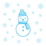 Smiling snowman and snowflakes.