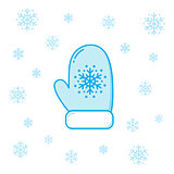 Winter mitten and snowflakes.
